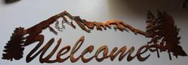 Mountain Welcome Sign Metal Wall Art Decor - $29.69