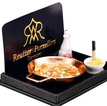 DOLLHOUSE Vegetables Sauteed in Pan Skillet Stir-fry 1.467/5 Reutter Minature - $17.34