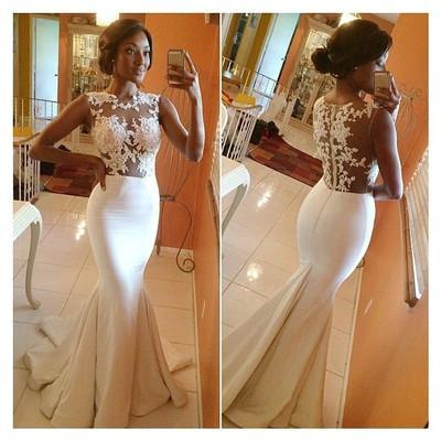 White prom Dress,Prom Dresses,Mermaid prom dress, see through prom dress