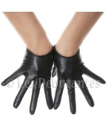 SEXY BLACK LOW WRIST LEATHER GLOVES - $19.99