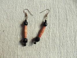 "Beautiful Vintage Beaded brown Jewelry Drop Dangling Earrings 3"" pierced - $7.02"