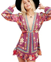 Free People Botanical Plunge Tunic Dress Size 0 XSmall Low Neck Floral Print NWT - $66.95