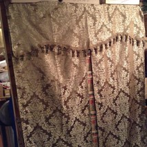 Jacquard Gold/Floral Drapery w Attached Valance Set