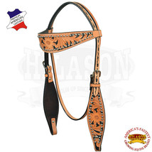 Western Horse Headstall Tack Bridle American Leather Hand Paint Hilason U-8-HS - $64.95