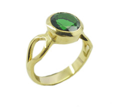 pleasing Emerald CZ Gold Plated Green Ring Natural supply US gift - $17.99
