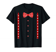Red Hearts Bow Tie Suspenders Valentines Day Costume T-Shirt - $21.69