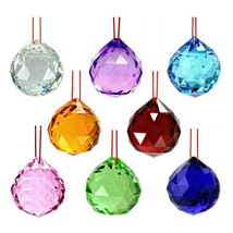 8 MIXED COLOR FENG SHUI CRYSTALS 40mm Hanging Faceted Rainbow Prism Sun ... - €22,72 EUR
