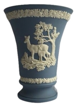 "Wedgwood Jasperware Deer & Fawn Vase Blue & White Excellent 6"" - $79.19"