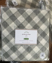 Pottery Barn Set 2 Bias Gingham Sheer Drape Gray 50x96 Tie Top Curtains ... - $129.00