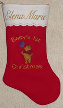 "17"" Personalized Embroidered Baby's First Christmas Stocking - $12.95"