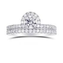 1.07Cts Colorless Diamond Wedding Set  Ring Set in 18K  White Gold GIA C... - $4,900.50