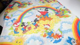 Vintage Disney Flat Sheet Mickey Pluto Daisy & Donald + Nephews Rainbow ... - $24.99