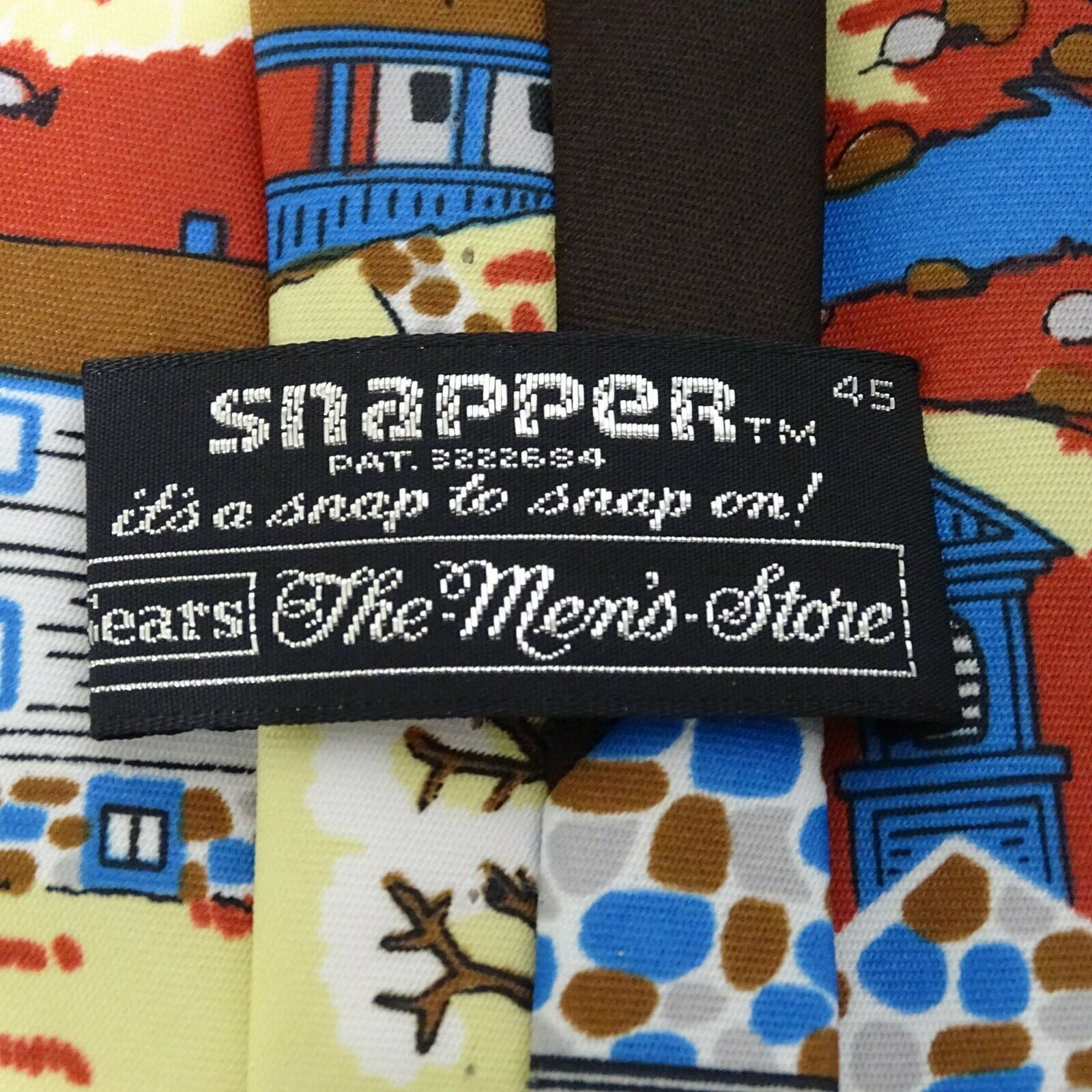 Vintage Sears Snapper Clip-on Tie Necktie Mens Multi-color General Store Novelty