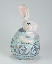 Light Blue & Silver Detail Egg with Bunny in Egg Easter Tabletop Decor 5... - $15.79