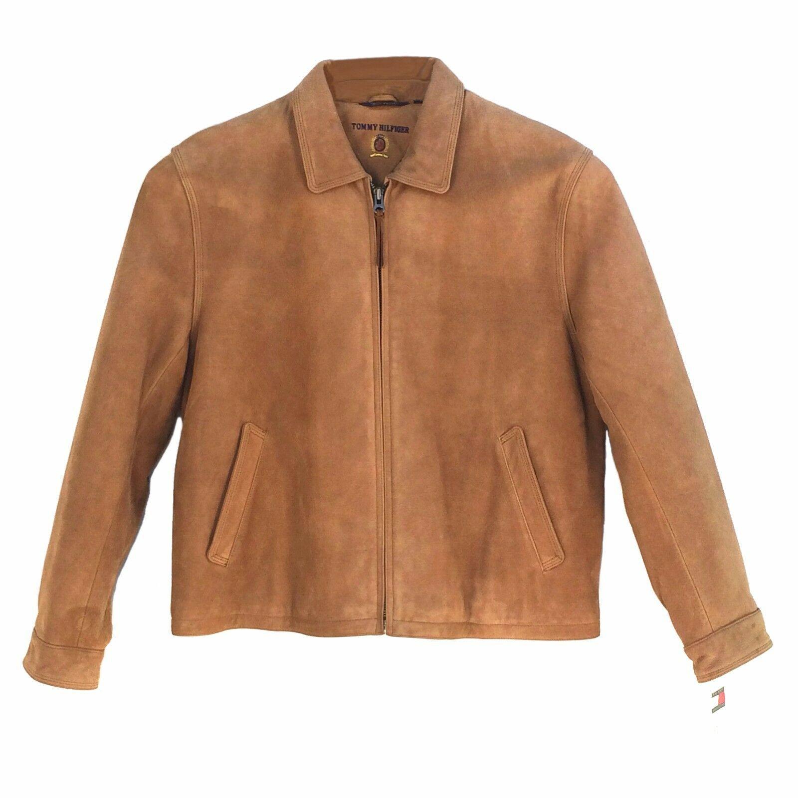 Vintage,Tommy Hilfiger, Q44049LTB, Men Leather James Dean Bomber Jacket,Tobacco - $395.00