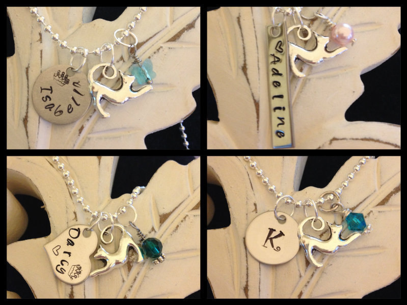 Personalized Hand Stamped Little Girls Kitty Cat Necklace with Swarovski Birthst