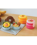 LINE Friends Circular 2 Stage Lunch Box Character Food Storage Container... - $26.98