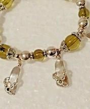 VintageCitrine Beaded Bracelet w/8 Flip Flop Charms Life's better n Flip... - $12.86