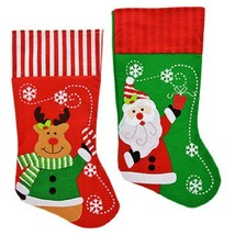 Set of 2 Christmas House Polyester Christmas Character Stockings with St... - $11.87