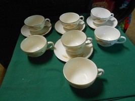 "Great HOMER LAUGHLIN ""Golden Wheat"" 4 Cups and Saucers  plus 3 Extra Cups - $12.19"