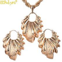 Ethlyn Nigerian/African Wedding Jewelry Set Hollow Leaf Pendant Necklace Earring image 2