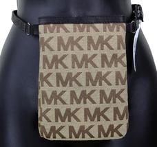 Michael Kors MK Women's Cut Out Leather Canvas Purse Belt Fanny Pack Bag 551501 image 4