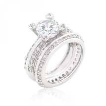 Cubic Zirconia Round Cut Pave Ring Set (size: 08) R08295R-C01-08 - $35.00