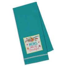 "Moms Make Life Beautiful Embellished Kitchen Towel New Cotton 18"" x 28""  - $14.84"