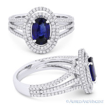 2.26 ct Oval Blue Sapphire & Diamond Pave Halo Engagement Ring in 18k Wh... - £2,464.70 GBP
