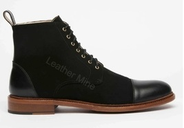 Handmade Black Suede Leather Lace Up Boots For Men, Custom Made Dress Boots Mens - $179.99 - $199.99