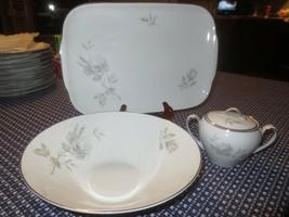 Dawn Rose Hutschenreuther Vegetable Bowl, Platter, Sugar Bowl China - Germany - $17.82