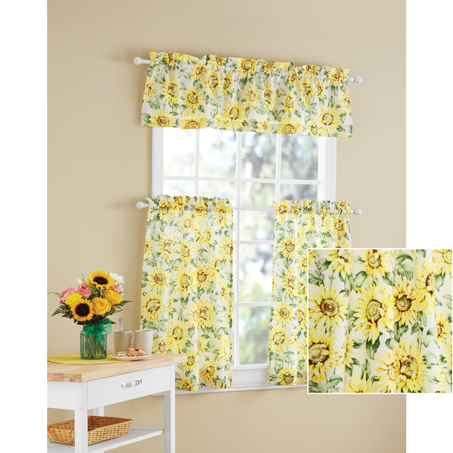 Bright Sunny Yellow Country Sunflowers 3pc Kitchen