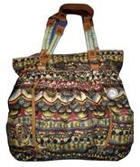 The Sak Sakroots Shoulder Bag Large Hobo Purse Peace Signs Green Floral  - $28.00