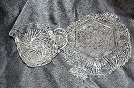 GlassCreamer and Serving Tray with Detailed AA18-11894VintageHeavy Etched image 3