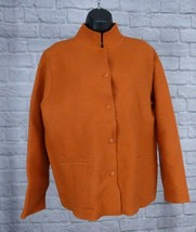 NWT $398 EILEEN FISHER Carrot Orange Boiled Wool High Neck Jacket Size M... - $122.49