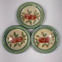 Gibson GID418 Apples Salad Dessert Plates Hand Painted Green Band Lot of 3 - $9.85