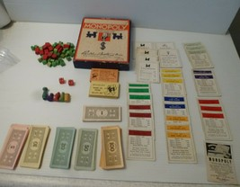 Vintage Late 1930s Monopoly Game Box wooden pieces,cards,Money image 2