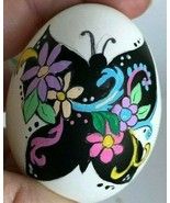 REAL Egg Handpainted Blown Egg Animal Silhouette w Floral decor Easter B... - $6.25