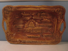 Washington DC Faux Wood Silberne Souvenir Tray 1963 Syroccoware Molded - $5.28