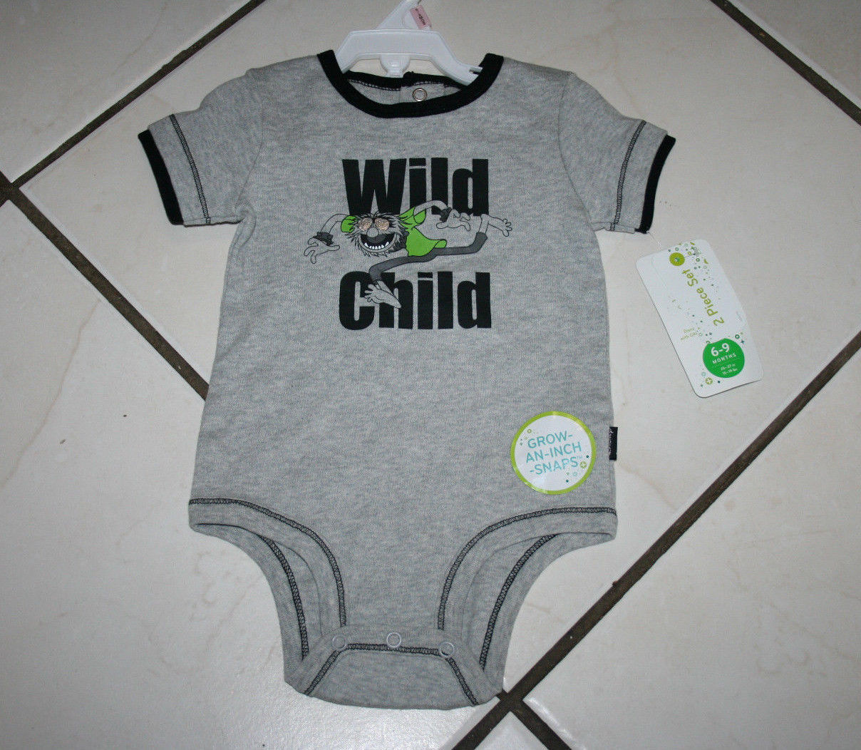 Cat and Jack Bodysuit Size 6-9 Months Baby Boy Gray Short Sleeve One Piece NWT