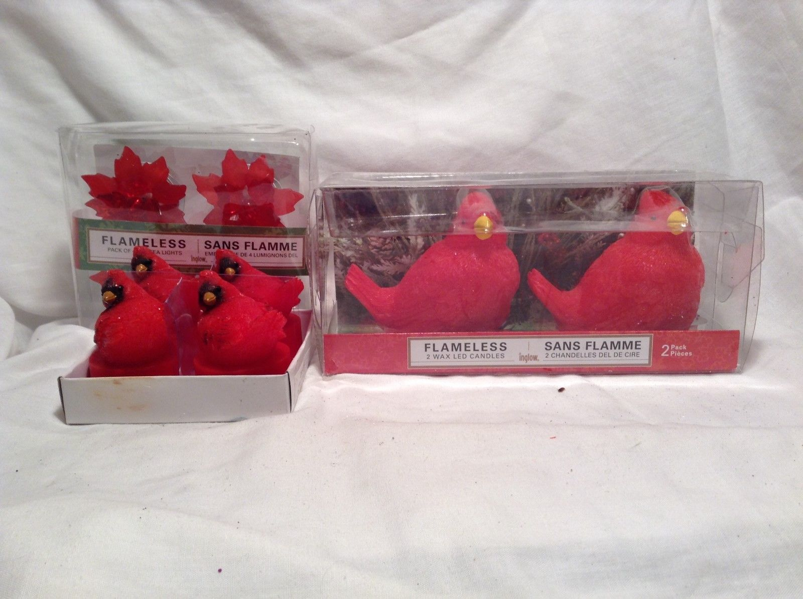 NEW Inglow Flameless Cardinal Candles and Tea Lights