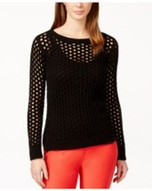 Michael kors sweater top open knit sz PM black high low metal logo - $36.62
