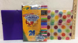 Crayola Markers 24 Ct Washable Nontoxic Super Tips 6 Scented 2 Folders Lot of 3 - $9.85