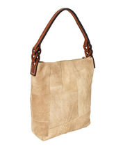 Women's Leather Patchwork Boho Chic Purse Quilted Lined Transport Tote Handbag image 8