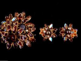 Vintage Robert DeMario Bronze Rhinestone Floral Gold Amber Brooch Earrin... - $248.39