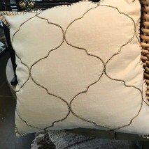 Pottery Barn Tile Pillow Cover Beige 22x22 sq Embroidered Moroccan Khaki... - $43.79