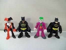 4 DC SUPER FRIENDS BATMAN IMAGINEXT ACTION FIGURES HARLEY QUINN JOKER BA... - $12.69