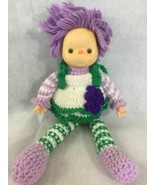 "Ice Cream Face Baby Doll Hand Crochet Dress Purple Yarn Hair Plush 19"" V... - $19.55"