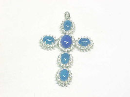 Large BLUE CHALCEDONY and WHITE TOPAZ Cross Pendant in Sterling Silver -... - $90.00