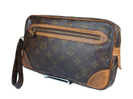 LOUIS VUITTON Marly Dragonne Monogram Canvas Leather Pochette Clutch Bag - $169.00